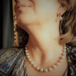 Majolika-Perlenkette mit Ohrringen in SET