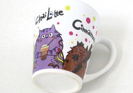 "Tasse ""Hot Chocolate, Matcha Latte, Chai Latte, Cinnamon"""