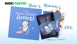 Kleiner Trottel Axolotl – Buch und Postkartenset