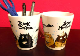 "Tasse ""Cappuccino, Latte Macchiato, Black Coffee, Milk"""