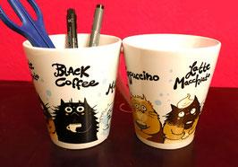 """Tasse """"Cappuccino, Latte Macchiato, Black Coffee, Milk"""""""