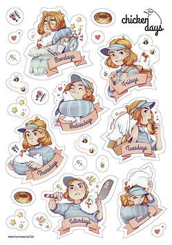 Hanna Wenzel: Chicken Days-Stickersheet