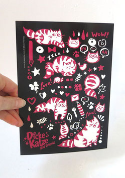 "Maxi-Postkarte (A5) ""Pink Cats on Black"""