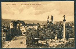 70...   (W-7000)   Stuttgart  -Schloßplatz mit altem Schloss-   (PK-00492)