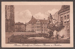 28...    (W-2800)   Bremen    -Domshof mit Teichmannbrunnen und Stadthaus-    (PK-00218)