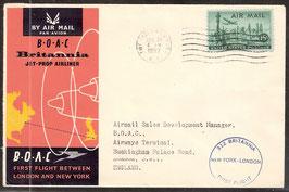 Erstflug B.O.A.C Britannia Jet-Prop Airliner zwischen London und New York  (T-Luftfahrt-FB 0002)