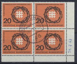 BRD 405 gestempelt Viererblock mit Eckrand rechts unten
