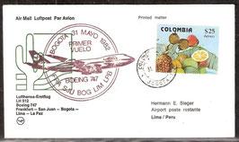 Erstflugbeleg LH512 Boeing 747   Frankfurt-San Juan-Bogota-Lima-La Paz (T-Luftfahrt-FB-0025)