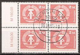 2550 RWZ I Versandstellenstempel Viererblock (DDR)