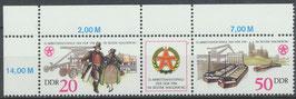 3028/3029 postfrisch Dreierstreifen mit Eckrand links oben (DDR)