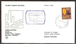 Erstflugbeleg LH513  Boeing 747  La Paz-Lima-Bogota-San Juan-Frankfurt  (T-Luftfahrt-FB-0019)