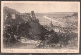 691..  (W-6900)   Heidelberg   -Gesamtansicht nach einem Stich von Willmann-  (PK-00038)