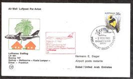 Erstflug Lufthansa LH691 Boeing 747  Sydney-Melbourne- Kuala Lumpur-Dubai-Frankfurt (T-Luftfahrt-FB-0017)