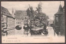 904..   (W-8500)   Nürnberg   -Wasserpartie v.d. Museumsbrücke-   (PK-00074)