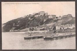 56077   (W-5400)   Ehrenbreitstein Koblenz   -Ehrenbreitstein mit ausgefahrener Schiffbrücke-   (PK-00083)