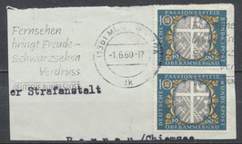 BRD 329 gestempelt senkrechtes Paar auf Briefstück