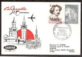 Erstflug Belgien SABENA  Brüssel-Tunis  (T-Luftfahrt-FB-0035)