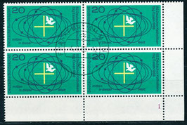 BRD 568 gestempelt Viererblock mit Eckrand rechts unten