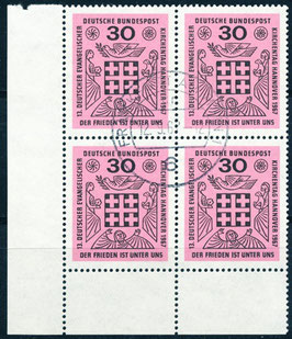 BRD 536 gestempelt Viererblock mit Eckrand links unten