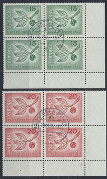 BRD 483-484 gestempelt Viererblocksatz mit Eckrand rechts unten