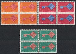 MC 879-881 postfrisch Viererblocksatz