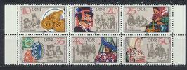 DDR 2716-2721 postfrisch Sechserblock mit Bogenränder