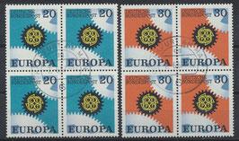 BRD 533-534 gestempelt Viererblocksatz