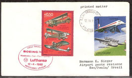 Flugbeleg Lufthansa  Montevideo-Sao Paulo-Frankfurt (T-Luftfahrt-FB-0032)