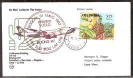 Erstflugbeleg LH512 Boeing 747   Frankfurt-San Juan-Bogota-Lima-La Paz (T-Luftfahrt-FB-0024)