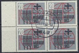BRD 391 gestempelt Viererblock mit Bogenrand links