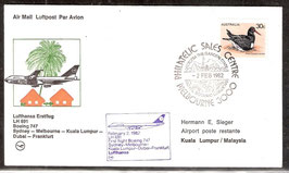Erstflug Lufthansa LH691 Boeing 747  Sydney-Melbourne- Kuala Lumpur-Dubai-Frankfurt (T-Luftfahrt-FB-0016)