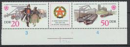 3028/3029 postfrisch Dreierstreifen mit Bogenrand rechts unten (DDR)