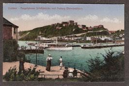 560..   (W-5400)   Koblenz    -Ausgefahrene Schiffsbrücke und Festung Ehrenbreitstein-   (PK-00050)