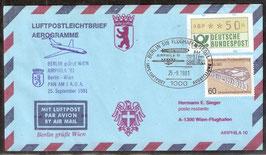 Flugbeleg Pan AM  Berlin - Wien anläßlich der AIRPHILA '81  (T-Luftfahrt-FB-0015)