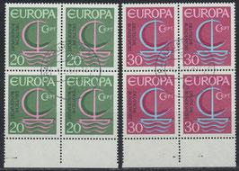 BRD 519-520 gestempelt Viererblocksatz mit Bogenrand unten