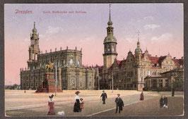 01...   (O-8010)   Dresden   -Kath. Hofkirche mit Schloss-   (PK-00294)