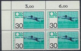 BRD 811 postfrisch Viererblock mit Eckrand links oben