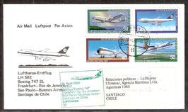 Erstflug Lufthansa LH 502 Boing 747 SL  Frankfurt-Rio de Janeiro-Sao Paulo-Buenos Aires- Satiago de Chile   (T-Luftfahrt-FB-0013)