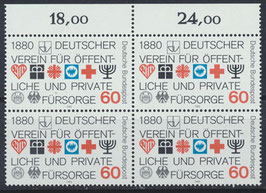 BRD 1044 postfrisch Viererblock mit Bogenrand oben