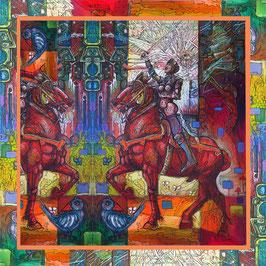 Sjaal ca. 140x140  Geen en weer paard1