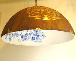 Lampenkap met unieke afbeelding voorzien van bladgoud en delfts blauw design