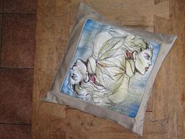 sierkussen 50x50 met illustratie op linnen