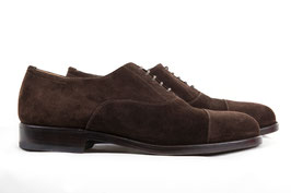 Cap toe oxford in nubuck dark brown