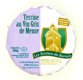 Terrine au vin gris des côtes de Meuse 100g.