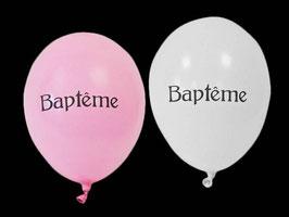 8 ballons Baptême Blanc et Rose