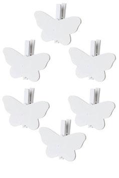 6 Pinces en Bois Papillon
