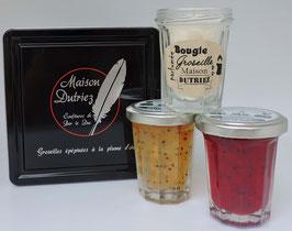 Coffret 2 pots 100 g confiture de Groseilles Rouges et Blanches et 1 bougie Groseille (CONF109)