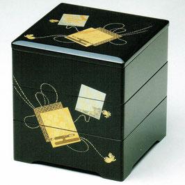 19-74-1 黒 6寸5分 三段重箱 結び色紙