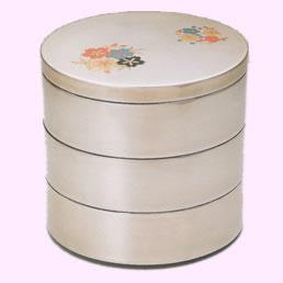 3106-2 春香花丸 銀地 丸重箱