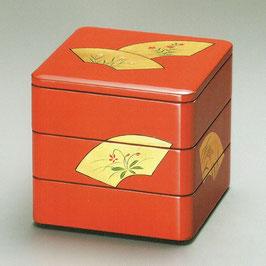 3105-6 扇面草花6寸 三段重箱